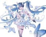 1girl aono_99 black_gloves blue_eyes blue_hair bug butterfly character_name dress gloves hatsune_miku headphones highres insect long_hair looking_at_viewer looking_to_the_side signature solo thigh_strap twintails vocaloid white_dress