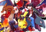 2boys absurdres baseball_cap black_hair blue_pants charizard closed_mouth dual_persona fingerless_gloves gen_1_pokemon gloves hat highres holding holding_poke_ball multiple_boys open_mouth pants pikachu poke_ball poke_ball_(generic) pokemon pokemon_(creature) pokemon_(game) pokemon_masters pokemon_special pon_yui red_(pokemon) shoes teeth tongue v-shaped_eyebrows venusaur