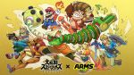 3girls arm_cannon arms_(game) banana banana_peel barrel beanie blonde_hair copyright_name donkey_kong donkey_kong_(series) doubutsu_no_mori dragon_(arms) fighting_stance food fox_mccloud fruit gun hat highres ink inkling ishikawa_masaaki jacket link mario mario_(series) master_sword megawatt_(arms) metroid min_min_(arms) multiple_girls official_art samus_aran shield shizue_(doubutsu_no_mori) short_hair splatoon_(series) star_fox super_smash_bros. sword the_legend_of_zelda the_legend_of_zelda:_breath_of_the_wild weapon yellow_background