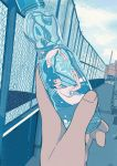 1girl 456 air_bubble blue_hair blue_theme bottle bubble chain-link_fence fence hands_up holding holding_bottle original outdoors pov pov_hands ramune reflection refraction rooftop shirt short_hair white_shirt