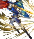 1boy belt blue_eyes blue_hair boots cape egawa_akira fire_emblem fire_emblem:_genealogy_of_the_holy_war fire_emblem_heroes full_body fur_trim gloves headband highres long_hair low_ponytail official_art open_mouth seliph_(fire_emblem) solo sparkle sword teeth transparent_background tyrfing_(fire_emblem) weapon