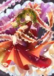 1girl absurdres arm_ribbon bangs bow dancing dress floating floating_object frilled_ribbon frills front_ponytail green_eyes green_hair hair_bow hair_ribbon highres holding_skirt kagiyama_hina looking_at_viewer red_dress ribbon spinning too_many too_many_frills totomiya touhou water_drop