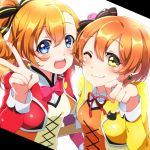 2girls :d bangs blue_eyes blush bow bowtie closed_mouth commentary_request eyebrows_visible_through_hair eyelashes green_eyes hair_between_eyes highres hoshizora_rin kousaka_honoka long_hair looking_at_viewer love_live! love_live!_school_idol_project multiple_girls one_eye_closed open_mouth orange_hair paw_pose pink_neckwear pon_yui shiny shiny_hair short_hair simple_background smile teeth tied_hair tongue upper_teeth v white_background