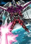 clenched_hands firing garimpeiro glowing glowing_eyes green_eyes gundam gundam_seed highres justice_gundam laser mecha mechanical_wings meteor_(gundam) no_humans planet solo v-fin wings