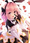1boy animal_ears artist_name astolfo_(fate) blush fake_animal_ears fang fate/grand_order fate_(series) floating_heart frills gloves hair_intakes hair_ornament hair_ribbon highres long_hair long_sleeves open_mouth otoko_no_ko pink_eyes pink_hair puffy_sleeves ribbon skirt smile victory_pose watermark white_background yukibunns