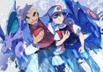 2boys absurdres baseball_cap belt black_hair commentary_request gen_1_pokemon gengar hand_on_another's_shoulder hat highres holding holding_poke_ball holding_pokedex labcoat looking_at_viewer making-of_available multiple_boys nidorino ookido_yukinari open_mouth pants poke_ball poke_ball_(generic) pokedex pokemon pokemon_(creature) pokemon_(game) pokemon_rgby pon_yui red_(pokemon) smile teeth tongue