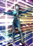 1boy absurdres alien floating glowing glowing_eyes highres looking_ahead no_humans omotyazukiyasan outstretched_arms t-pose tokusatsu ultra_series ultraman_z ultraman_z_(series) white_eyes