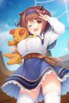 1girl ;d arm_up ass_visible_through_thighs bangs belt blue_hairband blue_skirt blue_sky blush breasts brown_eyes brown_hair day draph eyebrows_visible_through_hair granblue_fantasy hair_bobbles hair_ornament hairband highres horns kusunoki_(escude) large_breasts long_sleeves looking_at_viewer one_eye_closed open_mouth oppai_loli outdoors panties pantyshot pink_panties shirt short_hair skindentation skirt sky smile solo standing stuffed_animal stuffed_toy thigh-highs underwear v white_legwear white_shirt yaia_(granblue_fantasy)