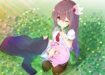 2girls ;) animal_ear_fluff animal_ears azur_lane bangs black_jacket blue_flower blue_shirt blush breasts brown_eyes brown_hair brown_legwear cat_ears closed_eyes closed_mouth commentary_request covering crossover day eyebrows_visible_through_hair finger_to_mouth flower green_sailor_collar green_skirt hair_between_eyes hair_ornament highres hood hood_down hooded_jacket jacket jacket_removed kantai_collection kisaragi_(azur_lane) kisaragi_(kantai_collection) lap_pillow long_hair long_sleeves lying medium_breasts multiple_girls namesake necktie nekoyanagi_(azelsynn) on_side one_eye_closed outdoors pantyhose pink_flower puffy_short_sleeves puffy_sleeves red_neckwear sailor_collar school_uniform serafuku shirt short_sleeves shushing skirt sleeping sleeves_past_wrists smile very_long_hair white_sailor_collar yellow_flower