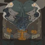 1973_nen_no_pinball 2girls abstract arm_behind_back bangs blunt_bangs brown_background brown_shirt bubble character_request cigarette commentary_request cowboy_shot cup denim dog elephant grey_hair half-closed_eyes head_to_head highres holding holding_cup jeans limited_palette lipstick long_sleeves makeup monkey mouse_hair_ornament mug multicolored multicolored_eyes multiple_girls orange_eyes orange_lipstick pants parted_bangs pink_eyes print_shirt print_sweater puckered_lips shiny shiny_hair shirt short_eyebrows short_hair siblings simple_background sitting_on_shoulder smoke steam sweater t-shirt too_many_monkeys translation_request twins umimaru_(hentarou) wide_sleeves