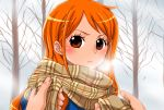 1girl bangs blush brown_eyes closed_mouth frown highres long_hair looking_at_viewer nami_(one_piece) one_piece orange_hair plaid plaid_scarf pov scarf shiny shiny_hair swept_bangs upper_body winter yamadaenako