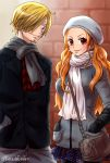 1boy 1girl bag beard black_coat black_eyes black_legwear blonde_hair blue_skirt blush brown_hair casual closed_mouth coat cowboy_shot earrings facial_hair gloves grey_gloves grey_jacket grey_pants grey_scarf hair_over_crotch hand_in_pocket handbag highres jacket jewelry long_hair looking_at_viewer miniskirt nami_(one_piece) one_piece pants pantyhose pleated_skirt polka_dot_skirt red_eyes sanji scarf shiny shiny_hair skirt smile standing twitter_username very_long_hair white_scarf yamadaenako