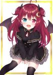 1girl absurdres ahoge black_legwear commentary_request crescent crescent_hair_ornament demon_horns demon_wings gothic_lolita hair_ornament heterochromia highres horns lolita_fashion long_hair looking_at_viewer nijisanji open_mouth redhead simple_background sitting solo thigh-highs virtual_youtuber wings yuzuki_roa