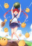 1girl ahoge arms_up azur_lane bandaid bandaid_on_knee bangs bird blue_skirt blue_sky blush canteen chick clouds collared_shirt commentary day dirt_road eyebrows_visible_through_hair floating_hair flying food fruit full_body gradient gradient_background grass hair_ribbon hat hat_removed headwear_removed highres holding honolulu_(azur_lane) irohasu manjuu_(azur_lane) open_mouth orange_eyes outdoors pleated_skirt redhead ribbon road sailor_collar school_uniform serafuku shirt shoes short_sleeves skirt sky smile standing standing_on_one_leg straw_hat symbol-shaped_pupils thighs twintails v-shaped_eyebrows watermelon white_shirt younger