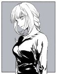 1girl arms_at_sides bangs braid braided_ponytail breasts chainsaw_man expressionless grey_background greyscale looking_to_the_side makima_(chainsaw_man) medium_breasts medium_hair monochrome ringed_eyes shirikon shirt simple_background solo upper_body