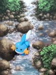 black_eyes commentary_request foliage gen_3_pokemon highres mk_(mikka) mudkip no_humans outdoors pokemon pokemon_(creature) rock starter_pokemon stream wading water