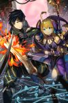1boy 1girl ahoge artist_name bangs bare_shoulders black_footwear black_hair black_leotard blonde_hair blue_eyes blurry blurry_foreground boots brick_wall chrom_(fire_emblem) closed_mouth collared_jacket commentary depth_of_field dragalia_lost english_commentary eyebrows_visible_through_hair fire_emblem fire_emblem_awakening green_jacket green_pants hagoromo hair_ornament hentaki highres holding holding_staff holding_sword holding_weapon jacket knee_boots leotard long_hair long_sleeves pants parrying parted_lips shawl staff sword v-shaped_eyebrows very_long_hair watermark weapon web_address zethia