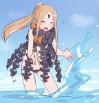 1girl abigail_williams_(fate/grand_order) absurdres bangs black_bow black_panties blonde_hair blue_sky blush bow breasts closed_eyes fate/grand_order fate_(series) forehead hair_bow highres kopaka_(karda_nui) long_hair looking_at_viewer multiple_bows open_mouth orange_bow panties parted_bangs ponytail sidelocks sky small_breasts smile splashing underwear wading water