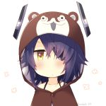 1girl animal_hood blush bokukawauso bra_strap brown_eyes chibi closed_mouth collarbone eyepatch hair_over_one_eye headgear hood hood_up kantai_collection kotobuki_(momoko_factory) looking_at_viewer messy_hair pajamas purple_hair short_hair solo tenryuu_(kantai_collection) twitter_username upper_body