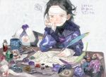 1boy annoyed bandage_on_face bandages bandaid bandaid_on_cheek bandaid_on_face bandaid_on_finger bandaid_on_forehead black_hair blood bloody_bandages chin_rest cup desk drawr gem grimace injury melynx messy_hair monster_hunter mug nishihara_isao paper quill scissors short_hair sweat translation_request writing