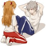 0930erina 1boy 1girl arms_behind_head bangs blue_pants full_body grey_hair gym_uniform hair_ornament hair_over_one_eye hairclip long_hair looking_at_another lowres nagisa_kaworu neon_genesis_evangelion open_mouth orange_hair pants red_eyes red_pants school_uniform shirt short_hair simple_background souryuu_asuka_langley white_background white_shirt