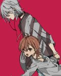 1boy 1girl accelerator age_difference ahoge black_choker blush brown_eyes brown_hair choker earphones earphones eyes_visible_through_hair grey_hair holding holding_hands ihako last_order looking_down open_mouth parted_lips red_background red_eyes short_hair simple_background smile to_aru_majutsu_no_index