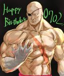 1boy abs bald bandaged_hands bandages black_background eyepatch happy_birthday highres male_focus manly muscle no_pupils one-eyed pectorals sagat scar shirtless solo street_fighter street_fighter_ii_(series) tetsu_(kimuchi)