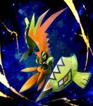 beak black_skin commentary_request full_body gen_7_pokemon highres legendary_pokemon mk_(mikka) no_humans plume pokemon pokemon_(creature) shell solo tapu_koko