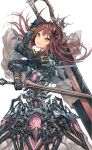 1girl brown_hair datsuyuru dual_wielding eyebrows_visible_through_hair fantasy hair_ornament highres holding holding_sword holding_weapon long_hair mecha_musume original parted_lips simple_background smile solo sword twintails weapon white_background yandere yellow_eyes