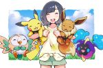 1girl :d bangs black_hair border closed_eyes clouds commentary_request cosmog day eevee eyelashes gen_1_pokemon gen_7_pokemon holding holding_pokemon legendary_pokemon mizuki_(pokemon) mk_(mikka) open_mouth outdoors outside_border pikachu pokemon pokemon_(creature) pokemon_(game) pokemon_sm rowlet shiny shiny_hair shirt short_hair short_sleeves shorts sky smile teeth tied_shirt tongue upper_teeth white_border