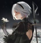 1girl back_cutout black_dress black_gloves blurry blurry_background dress flower from_side gloves hairband hands_up highres holding holding_flower juliet_sleeves katana long_sleeves mole mole_under_mouth nier_(series) nier_automata no_blindfold profile puffy_sleeves rayxray red_eyes short_hair smile solo sword upper_body weapon weapon_on_back white_flower white_hair yorha_no._2_type_b