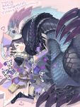 >_< 1boy armor blush character_request claws closed_eyes drawr gauntlets happy helmet hug monster monster_hunter nishihara_isao open_mouth purple_hair scales short_hair shoulder_armor translation_request