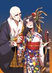 1boy 1girl alcohol bald black_hair black_kimono black_sclera blue_eyes blush cup drinking_glass drunk earrings eyebrows_visible_through_hair facial_hair fate/grand_order fate_(series) flat_chest goatee height_difference highres hoop_earrings japanese_clothes jewelry katana kimono licking_lips long_hair musashibo_benkei_(fate/grand_order) no_eyebrows obi print_kimono rokkotsu sash side_ponytail sword tongue tongue_out ushiwakamaru_(fate/grand_order) very_long_hair weapon wine_glass yukata