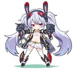 1girl animal_ears azur_lane bangs belt bra chibi dual_wielding fake_animal_ears full_moon holding holding_weapon jacket laffey_(azur_lane) long_hair moon open_clothes open_jacket pleated_skirt rabbit_ears red_eyes retrofit_(azur_lane) searchlight silver_hair simple_background skirt solo standing thigh-highs tokisaka_ena torpedo_tubes twintails underwear very_long_hair weapon white_background white_bra white_legwear white_skirt yellow_belt