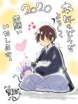 1boy 1girl 2020 acchi_kocchi ahoge commentary_request glasses ishiki_(okota) miniwa_tsumiki mouse new_year otonashi_io signature