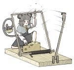 1girl animal_ears bangs basket black_eyes blush capelet cheese dress food grey_dress grey_hair holding jewelry long_sleeves mouse mouse_ears mouse_tail mousetrap nazrin open_mouth peroponesosu. short_hair simple_background solo sweat tail touhou white_background white_sleeves