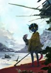 1other ambiguous_gender beach black_hair black_sclera blue_skin blue_sky broken_horn city claw_(weapon) closed_mouth clouds cloudy_sky forest highres holding holding_weapon hood hood_down horns jewelry light_rays monster moss mountain nature necklace original outdoors plant pointy_ears raincoat ruins scratches sky standing tail torn_clothes tree water weapon wreckage yellow_eyes yunar