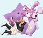 1girl animal_ears animal_on_head bangs black_skirt blue_background blue_eyes boots bow brown_bow cat_ears cat_tail eyebrows_visible_through_hair from_side full_moon highres horns kneehighs looking_at_viewer moon on_head original poppypilf purple_hair rabbit short_hair short_sleeves simple_background skirt stuffed_animal stuffed_bunny stuffed_toy tail tail_bow white_legwear