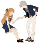 0930erina 1boy 1girl bangs blue_dress blue_eyes blue_jacket blue_ribbon boots bracelet collar dress full_body grey_hair hair_ribbon hair_tie hand_in_pocket holding_hands jacket jewelry long_hair looking_at_another nagisa_kaworu neck_ribbon neon_genesis_evangelion orange_hair pants plaid plaid_shirt red_eyes red_ribbon ribbon shirt shoes short_hair simple_background sitting smile sneakers socks souryuu_asuka_langley standing white_background white_collar white_legwear white_pants