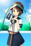 1girl absurdres black_hair blue_sailor_collar blue_skirt blue_sky brown_eyes bush chain-link_fence clouds cowboy_shot day empty_pool fence highres hose kantai_collection katsuobushi_(eba_games) miyuki_(kantai_collection) outdoors pleated_skirt sailor_collar school_uniform serafuku short_hair skirt sky solo water