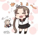 2girls ayanami_(kantai_collection) black_ribbon blonde_hair blush blush_stickers brown_hair brown_sailor_collar chibi claw_pose closed_eyes commentary_request dated eyebrows_visible_through_hair hair_flaps hair_ornament hair_ribbon hairclip kantai_collection kirigaya_yuuji long_hair looking_at_another multiple_girls open_mouth remodel_(kantai_collection) ribbon sailor_collar scarf school_uniform serafuku side_ponytail simple_background skirt smile twitter_username white_scarf yuudachi_(kantai_collection)