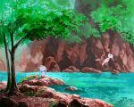 alolan_form alolan_meowth blue_eyes cat commentary_request flying foliage gen_1_pokemon gen_7_pokemon looking_up mew mk_(mikka) mythical_pokemon no_humans on_rock outdoors pokemon pokemon_(creature) rock sitting smile tree water