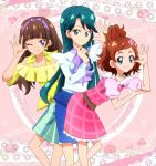 3girls amanogawa_kirara aqua_eyes ascot bangs bare_shoulders belt blue_eyes blue_skirt blunt_bangs braid brown_hair dark_green_hair dress earrings flower frilled_dress frills go!_princess_precure hair_flower hair_ornament hairband haruno_haruka jewelry kaidou_minami long_hair low_twintails masako_(sabotage-mode) multiple_girls necklace off-shoulder_shirt off_shoulder official_style orange_hair perfume plaid plaid_skirt precure purple_hairband shirt shorts sidelocks skirt star_(symbol) star_earrings striped striped_shorts twintails violet_eyes white_shirt
