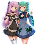 :t bangs bare_shoulders black_dress blue_dress blue_sleeves blush breasts closed_mouth commentary detached_sleeves double_bun dress dual_persona earrings english_commentary eyebrows_visible_through_hair frilled_dress frilled_legwear frills garter_straps green_hair hair_ornament hand_up highres hololive index_finger_raised jewelry kazenokaze long_hair long_sleeves looking_at_viewer off-shoulder_dress off_shoulder pink_hair pout red_eyes simple_background skull_earrings skull_hair_ornament sleeveless sleeveless_dress small_breasts thigh-highs uruha_rushia v-shaped_eyebrows very_long_hair virtual_youtuber white_background white_legwear wide_sleeves wrist_cuffs