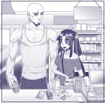 1boy 1girl asymmetrical_hair bag bald bare_shoulders black_sclera breasts casual collarbone eyebrows_visible_through_hair facial_hair fate/grand_order fate_(series) goatee hair_rings handbag height_difference monochrome musashibo_benkei_(fate/grand_order) muscle off-shoulder_shirt off_shoulder open_mouth rokkotsu shirt shop shopping small_breasts tank_top thick_eyebrows twintails ushiwakamaru_(fate/grand_order) veins