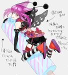 1girl :q black_gloves bow drawr eating elbow_gloves fishnet_legwear fishnets food food_on_face garter_straps gloves lace looking_back nishihara_isao original purple_hair riding short_shorts shorts solo striped striped_legwear thigh-highs tongue tongue_out translation_request violet_eyes wings