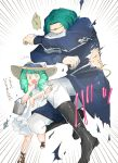1boy 1girl alternate_costume boots brother_and_sister bucket dress fire_emblem fire_emblem:_three_houses fish flayn_(fire_emblem) green_eyes green_hair hair_ornament hat long_hair long_sleeves open_mouth robaco seteth_(fire_emblem) short_hair siblings simple_background sleeveless sleeveless_dress straw_hat torn_clothes white_dress