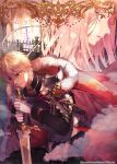 1boy 1girl armor blissuro blonde_hair cape chainmail cover cover_page fantasy gloves kneeling original pink_hair red_cape red_eyes sword violet_eyes watermark weapon web_address white_gloves