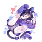 1girl :3 absurdres animal_ear_fluff animal_ears asymmetrical_legwear bell bell_collar benghuai_xueyuan black_hair blue_eyes cat_ears cat_girl cat_tail character_request chinese_commentary claw_pose collar commentary_request fang grey_shorts highres honkai_(series) hood hoodie legs_apart legs_up looking_at_viewer lying nail_polish on_back open_mouth paw_pose paw_print paw_print_pattern purple_hoodie purple_legwear purple_nails short_hair shorts slit_pupils smile soles solo tail thigh-highs tsubasa_tsubasa white_legwear