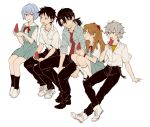 0930erina 2girls 3boys ayanami_rei belt black_hair black_legwear black_pants blue_eyes blue_hair blue_shirt blue_skirt boots character_request collar food grey_hair hair_ornament hairclip ikari_shinji long_hair multiple_boys multiple_girls nagisa_kaworu neck_ribbon necktie neon_genesis_evangelion orange_hair pants popsicle red_eyes ribbon school_uniform shirt short_hair short_sleeves simple_background skirt sleeves_rolled_up souryuu_asuka_langley watermelon_bar white_background white_collar white_legwear white_shirt wristband